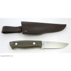 EnZo Trapper 95 N690Co Flat / Green Canvas Micarta / Teaca piele