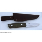 Cutit Brisa Trapper 95 N690Co Scandi / Green Canvas Micarta / Teaca piele